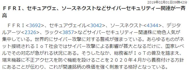 security 003 - サイバーセキュリティ関連株